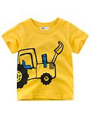 billige Topper til gutter-Barn Gutt Grunnleggende Trykt mønster Trykt mønster Kortermet Bomull T-skjorte Gul