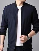 preiswerte Herrenjacken & Herrenmäntel-Herrn Alltag Frühling Standard Jacke, Solide Ständer Langarm Polyester Schwarz / Marineblau XL / XXL / XXXL