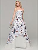 preiswerte Strandkleider-A-Linie Trägerlos Hof Schleppe Satin Formeller Abend Kleid mit Muster / Druck durch TS Couture®