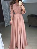 billige Kjoler med trykk-Dame Elegant Swing Kjole - Ensfarget, Knapp Skjortekrage Maksi