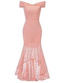 billige Romantiske blonder-Dame Vintage Elegant Kroppstett Kjole Skjede Havfrue Kjole - Ensfarget, Blonde Delt Midi