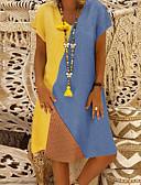 hesapli Kadın Elbiseleri-Kadın's Temel Kılıf Elbise - Zıt Renkli Diz-boyu
