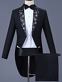 お買い得  メンズブレザー&スーツ-男性用 スーツ, ソリッド ノッチドラペル アクリル / ポリエステル ブラック XXL / XXXL / XXXXL