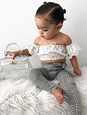 Χαμηλού Κόστους Σετ ρούχων για κορίτσια-Παιδιά / Νήπιο Κοριτσίστικα Ενεργό / Βασικό Φλοράλ / Καρό Φιόγκος / Στάμπα Κοντομάνικο Βαμβάκι / Spandex Σετ Ρούχων Λευκό