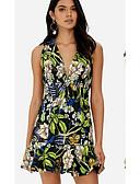 cheap Panties-Women's Sheath Dress - Floral Black Orange Purple L XL XXL
