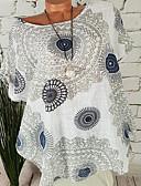 hesapli Tişört-Kadın's Pamuklu Tişört Desen, Kabile Koyu Mavi