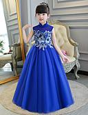 Χαμηλού Κόστους Λουλουδάτα φορέματα για κορίτσια-Παιδικά Κοριτσίστικα Κινέζικο Στυλ Σφήκα με σφήκα Φορέματα Cheongsam Για Πάρτι Αρραβώνων Πάρτι πριν το Γάμο Τούλι Σιφόν Κέντημα Μακρύ Φόρεμα