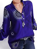 billige T-skjorter til damer-V-hals Skjorte Dame - Geometrisk, Blomster / Trykt mønster Blå / Vår / Sommer / Høst / Vinter