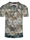 abordables Camisetas y Tops de Hombre-Hombre Tallas Grandes Estampado Camiseta, Escote Redondo Geométrico Gris Oscuro XXXL