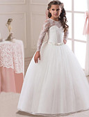 זול שמלות לילדות פרחים-נסיכה ארוך שמלה לנערת הפרחים  - תחרה / סאטן / טול שרוול ארוך עם תכשיטים עם תחרה / חגורה על ידי LAN TING Express