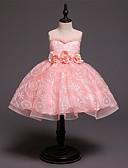 זול שמלות לילדות פרחים-נסיכה באורך  הברך שמלה לנערת הפרחים  - כותנה / סאטן / טול ללא שרוולים עם תכשיטים עם אפליקציות / תחרה / חגורה על ידי LAN TING Express