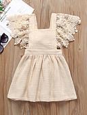 זול שמלות לתינוקות-שמלה כותנה / פשתן ללא שרוולים תחרה / שרוכים לכל האורך אחיד פעיל / בסיסי בנות תִינוֹק / פעוטות