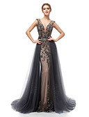 cheap Evening Dresses-A-Line Plunging Neck Court Train Tulle Dress with Beading / Sequin / Crystals by JUDY&JULIA