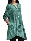 hesapli Tişört-Kadın's Pamuklu V Yaka Gömlek Geometrik Büyük Bedenler Doğal Pembe