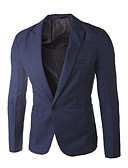 billige Herreblazere og jakkesæt-Herre Blazer, Ensfarvet Krave Polyester Lilla / Lyseblå / Marineblå XL / XXL / XXXL