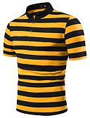 お買い得  メンズポロシャツ-男性用 パッチワーク EU / USサイズ Polo シャツカラー カラーブロック ルビーレッド L