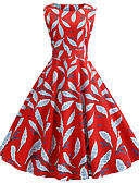 preiswerte Retro-Königin-Damen Grundlegend A-Linie Kleid Einfarbig Übers Knie