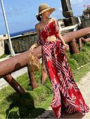 tanie Suknie balowe-Dwuczęściowa Bez ramiączek Sięgająca podłoża Szyfon Sukienka z Wzór / Nadruk / Rozcięcie z przodu przez LAN TING Express