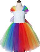זול שמלות לבנות-הקשת Unicorn נושא פוני קטן דפוס סביב צווארון ליל כל הקדושים נסיכה בנות שמלות