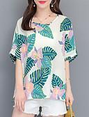 Χαμηλού Κόστους Ανδρικά μπλουζάκια και φανελάκια-Γυναικεία Μπλούζα Γεωμετρικό Φαρδιά Patchwork Πράσινο του τριφυλλιού M