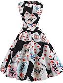 preiswerte Retro-Königin-Damen Retro A-Linie Kleid - mit Schnürung Druck, Geometrisch Übers Knie