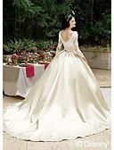 ราคาถูก ชุดแต่งงาน-บอลกาวน์ Bateau Neck ชายกระโปรงชาเปิล ลูกไม้ / ซาติน ชุดแต่งงานที่ทำขึ้นเพื่อวัด กับ ลูกไม้ โดย LAN TING BRIDE®