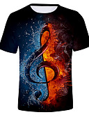cheap Men's Tees & Tank Tops-Men's T-shirt - Color Block / 3D Round Neck Black XXXXL