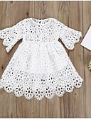Χαμηλού Κόστους Βρεφικά φορέματα-Μωρό Κοριτσίστικα Κομψό στυλ street Μονόχρωμο Δαντέλα Κοντομάνικο Πολυεστέρας Φόρεμα Λευκό