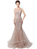 cheap Evening Dresses-Mermaid / Trumpet Jewel Neck Court Train Tulle Dress with Crystals by JUDY&JULIA