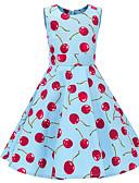 povoljno Haljine za djevojčice-Djeca Djevojčice Vintage Slatka Style Voće Print Bez rukávů Do koljena Haljina Plava / Pamuk