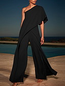 cheap Women's Jumpsuits & Rompers-Women's White Black Pink Jumpsuit, Solid Colored Chiffon / Fashion M L XL Spring Summer Fall / Winter