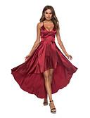 preiswerte Abendkleider-A-Linie V-Ausschnitt Asymmetrisch Satin Kleid mit Rüschen durch LAN TING Express