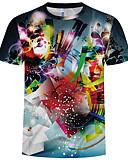 billige T-shirts og undertrøjer til herrer-Herre - Geometrisk / Farveblok / 3D Trykt mønster T-shirt Regnbue XXXXL