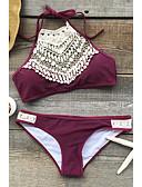 povoljno Bikinis-Žene Čipka Boho Na vezanje oko vrata Crn Lila-roza Odrezana majica Gaće Bikini Kupaći kostimi - Jednobojni Crno-bijela M L XL Crn / Sexy