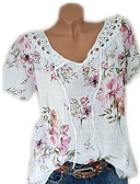 halpa T-paita-Naisten V kaula-aukko Pitsi / Kukka-aiheen tyyli / Painettu Yhtenäinen Pluskoko - T-paita Punastuvan vaaleanpunainen XXXL / Kevät / Kesä / Syksy