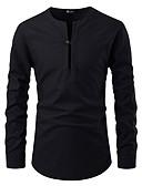 cheap Women-Men's Shirt - Solid Colored Black L