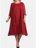 halpa Pluskokoiset mekot-Naisten Perus Tunika Mekko - Yhtenäinen Midi