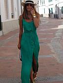 hesapli NYE Elbiseleri-Kadın's Sokak Şıklığı Kılıf Elbise - Solid, Bölünmüş Askılı Maksi / Dışarı Çıkma