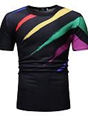 hesapli Erkek Tişörtleri ve Atletleri-Erkek Pamuklu Yuvarlak Yaka Tişört Kırk Yama / Desen, Gökküşağı AB / ABD Beden Beyaz