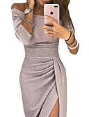 رخيصةأون فساتين حسب الطلب-عامودي دون الكتف طول الكعب مترتر فستان مع ترتر / فتحة أمامية بواسطة LAN TING Express