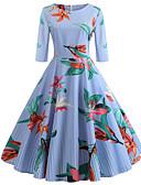 זול שמלות מודפסות-עד הברך דפוס שרוך, פסים קולור בלוק - שמלה גזרת A סווינג בסיסי בוהו בגדי ריקוד נשים