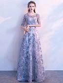 preiswerte Abendkleider-A-Linie Schmuck Boden-Länge Tüll Formeller Abend Kleid mit Applikationen durch LAN TING Express