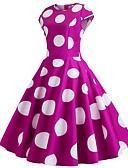 お買い得  ヴィンテージドレス-女性用 ヴィンテージ フレア ドレス - プリント, 水玉 / 波点 ミディ