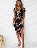 cheap Print Dresses-Women's Basic A Line Sundress - Floral Print Blue White Black XL XXL XXXL