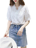 hesapli Gömlek-Kadın's V Yaka Gömlek Dantel, Solid Beyaz