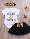 billige De flotteste sparkedragter-Baby Pige Aktiv / Basale Trykt mønster Sløjfer / Net / Trykt mønster Kortærmet Normal Normal Bomuld Tøjsæt Regnbue