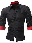 رخيصةأون قمصان رجالي-رجالي قميص لون سادة أسود XXL