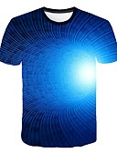 cheap Men's Tees & Tank Tops-Men's T-shirt - 3D Print Round Neck Royal Blue XXXXL