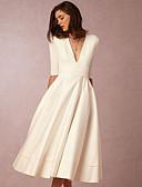 hesapli Kadın Elbiseleri-Kadın's Temel A Şekilli Kılıf Elbise - Solid Derin V Midi
