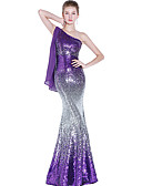 cheap Evening Dresses-Mermaid / Trumpet One Shoulder Floor Length Sequined Dress with Sequin by LAN TING Express